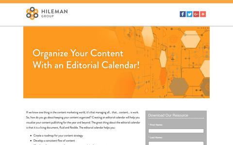 Screenshot of Landing Page hilemangroup.com - Organize Your Content With an Editorial Calendar! - captured Aug. 23, 2016