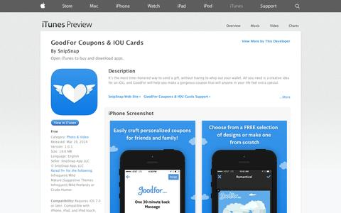 Screenshot of iOS App Page apple.com - GoodFor Coupons & IOU Cards on the App Store on iTunes - captured Dec. 17, 2014