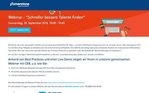 "Screenshot of Landing Page cornerstoneondemand.com - Webinar - ""Schneller bessere Talente finden"" - captured Oct. 29, 2016"