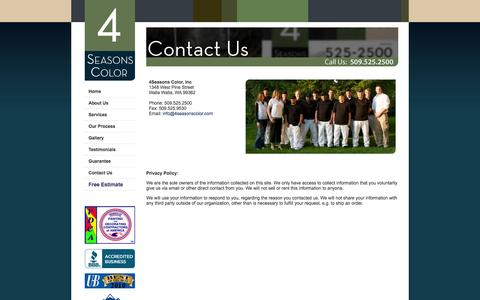 Screenshot of Privacy Page Contact Page 4seasonscolor.com - 4 Seasons Color - Walla Walla Painting Contractor - captured Sept. 30, 2014