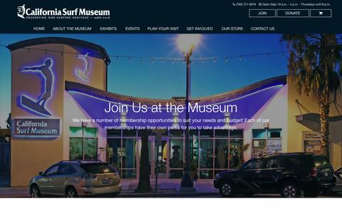 Screenshot of Signup Page surfmuseum.org - Join Us - California Surf Museum - captured July 12, 2017