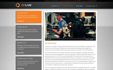 Screenshot of Jobs Page onlive.com - OnLive Careers - captured July 20, 2014