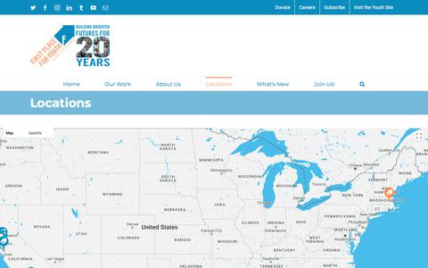Screenshot of Locations Page firstplaceforyouth.org - Locations | First Place For Youth - captured Aug. 13, 2018