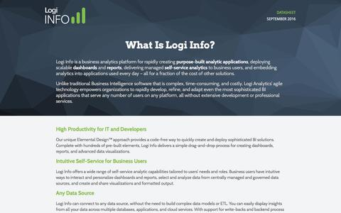 Screenshot of Landing Page logianalytics.com - Logi Info Datasheet | Logi Analytics - captured Oct. 22, 2016