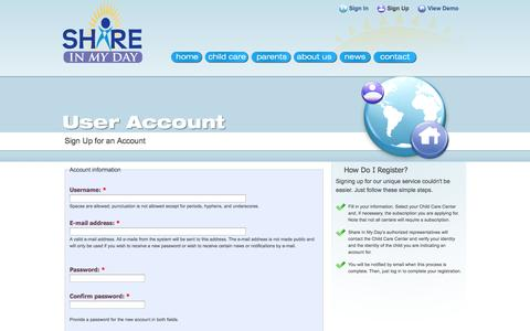 Screenshot of Signup Page shareinmyday.com - Create New Account | Share In My Day - captured Oct. 26, 2014