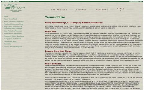 Screenshot of Terms Page curvyroad.com - Terms of Use for the Curvy Road Web site, an Exotic Car Share Company offering fractional ownership - captured Sept. 30, 2014