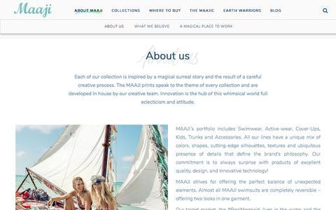 Screenshot of About Page maajiswimwear.com - About us - About Maaji - captured May 27, 2017