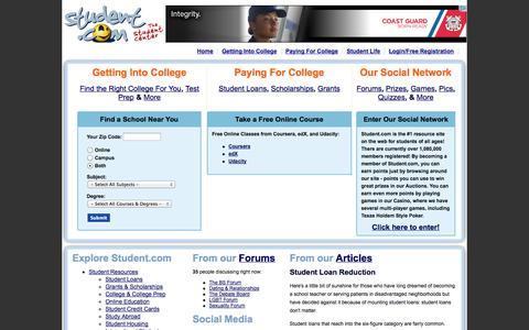 Screenshot of Home Page student.com - Student Center, Student.com, Student Center Network, teens, students, teen, student, college students, high school students, StudentCenter - captured Sept. 19, 2014