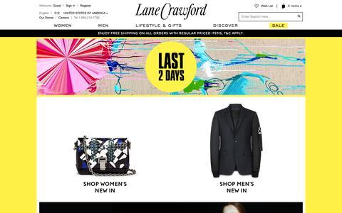 Screenshot of Home Page lanecrawford.com - Discover Your World Of Style | Lane Crawford - Shop Designer Brands Online - captured July 18, 2015