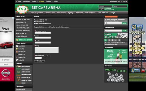 Screenshot of Contact Page betcafearena.ro - Contact - Bet Cafe Arena - captured Sept. 24, 2014