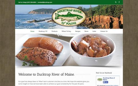 Screenshot of Home Page ducktrap.com - Welcome to Ducktrap River of Maine - captured Oct. 5, 2014
