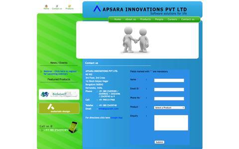 Screenshot of Contact Page apsarain.com - :: Apsara Innovations :: - captured Oct. 4, 2014
