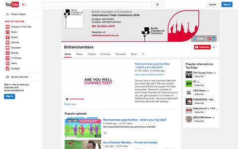 Screenshot of YouTube Page youtube.com - Britishchambers  - YouTube - captured Oct. 23, 2014