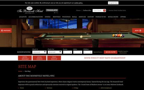 Screenshot of Site Map Page theroosevelthotel.com - Midtown Manhattan Hotel Site Map - The Roosevelt Hotel NYC - captured Sept. 21, 2018