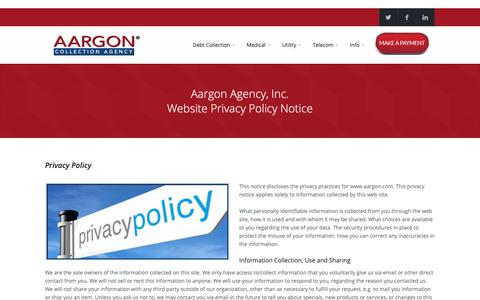 Screenshot of Privacy Page aargon.com - Aargon Agency, Inc. Privacy Policy Notice - captured Oct. 2, 2018