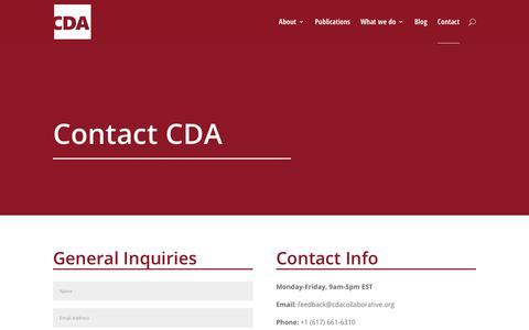 Screenshot of Contact Page cdacollaborative.org - Contact CDA - CDA - captured Sept. 25, 2018