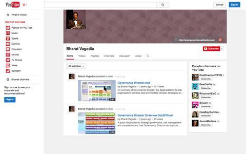 Screenshot of YouTube Page youtube.com - Bharat Vagadia  - YouTube - captured Oct. 22, 2014