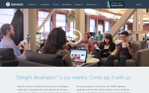 Screenshot of Jobs Page xamarin.com - Xamarin jobs are available in 15 countries, and we'd love you to join us! - Xamarin - captured Sept. 11, 2014