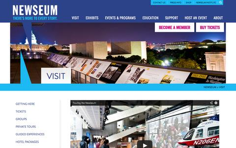 Screenshot of Hours Page newseum.org - Visit | Newseum - captured Oct. 26, 2014