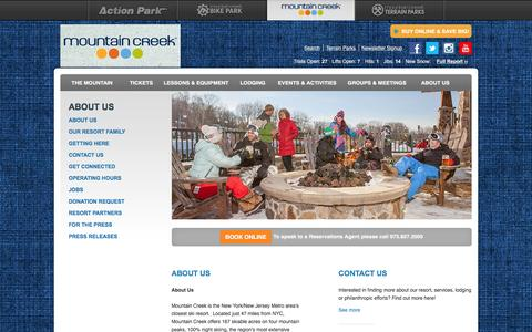 Screenshot of About Page mountaincreek.com - About Us - captured Jan. 17, 2016
