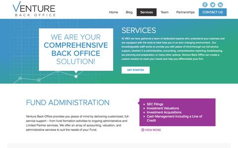 Screenshot of Services Page venturebackoffice.com - Services - venturebackoffice - captured Nov. 5, 2014