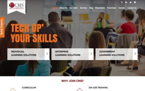 Screenshot of Home Page cmsinstitute.co.in - Best IT Training Institute in India | CMS IT Training Institute - captured Jan. 15, 2016