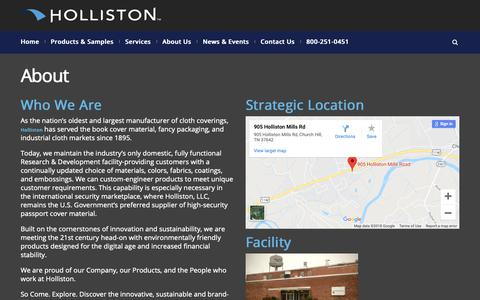 Screenshot of About Page holliston.com - About - Holliston LLC - captured Sept. 29, 2018