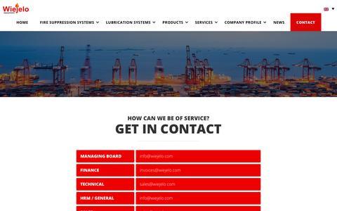 Screenshot of Contact Page wiejelo.com - Contact - Wiejelo   Automatische Brandblussystemen & Automatische Smeersystemen - captured Oct. 18, 2018