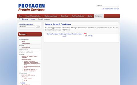 Screenshot of Terms Page protagenproteinservices.com - General Terms & Conditions - captured Oct. 3, 2014