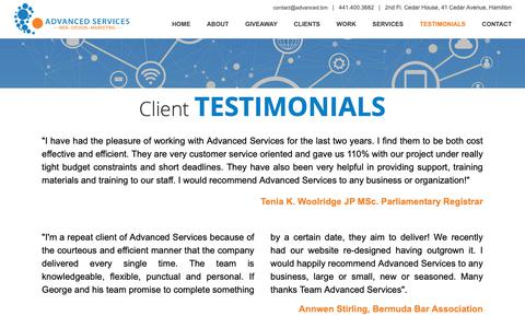 Screenshot of Testimonials Page advanced.bm - Advanced Services :: Web | Design | Marketing - Testimonials - captured Sept. 28, 2018