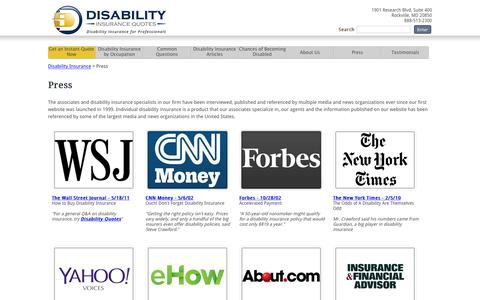 Screenshot of Press Page disabilityquotes.com - DisabilityQuotes.com Press - captured Feb. 9, 2016