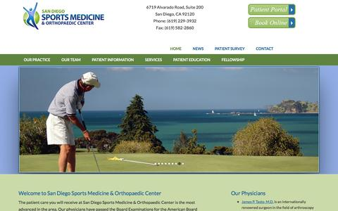 Screenshot of Home Page sdsm.net - San Diego Sports Medicine & Orthopaedic Center |  San Diego Orthopaedic Surgeons - captured Nov. 19, 2016