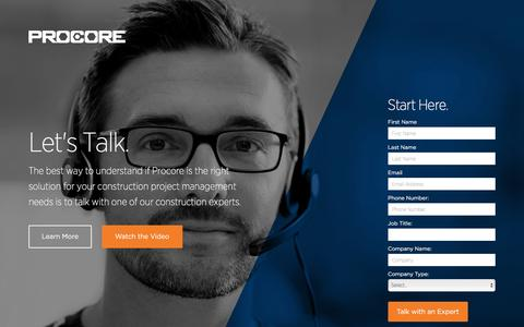 Screenshot of Landing Page procore.com - Let's Talk About Procore | Start Here - captured March 15, 2016