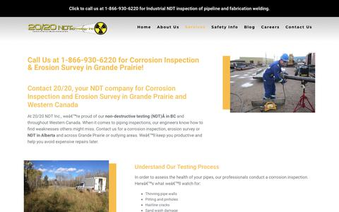 Screenshot of Services Page 2020ndt.com - 1-866-930-6220 NDT Grande Prairie | 20/20 NDT - captured Oct. 18, 2018