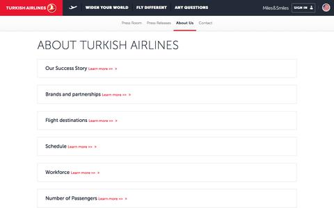 Screenshot of About Page turkishairlines.com - About Us | Press Room | Turkish Airlines ® - captured Nov. 4, 2017