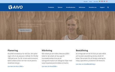 Screenshot of Home Page aivo.se - Vi erbjuder ett komplett verktyg för storkök   Aivo - captured Sept. 10, 2015