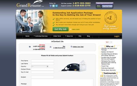 Screenshot of Contact Page grandresume.com - Grand Resume | Contact us - captured Nov. 13, 2016