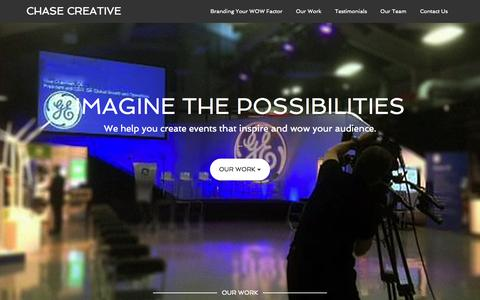 Screenshot of Home Page chasecreative.com - Event Staging - Audio Visual Services – Connecting your message to the audience - captured June 18, 2015