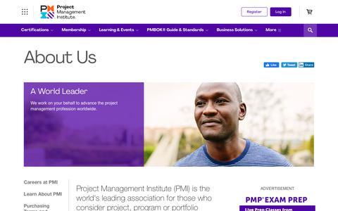 Screenshot of About Page pmi.org - About Us - captured Jan. 11, 2020