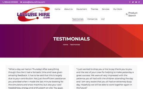 Screenshot of Testimonials Page leisurehire.com - Event and Equipment Hire | | Leisure Hire - captured Feb. 4, 2018