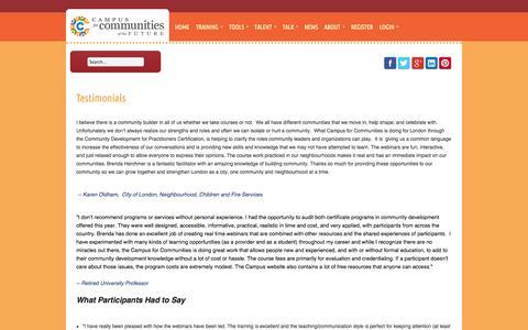 Screenshot of Testimonials Page campusforcommunities.com - Campus for Communities - Training Testimonials - captured Oct. 1, 2014