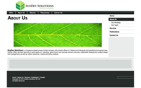Screenshot of About Page susdevsolutions.com - About Us - captured Sept. 30, 2014