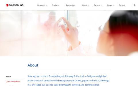 Screenshot of About Page shionogi.com - About - Shionogi Inc. A Discovery-Based Pharmaceutical Company - captured Oct. 18, 2018