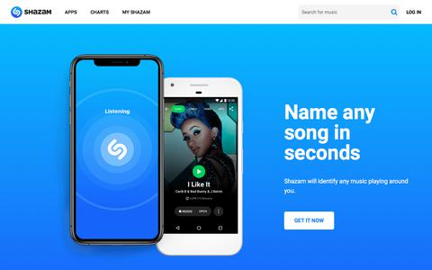 Screenshot of Home Page shazam.com - Shazam - Music Discovery, Charts & Song Lyrics - captured Aug. 9, 2019