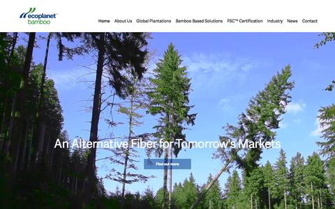 Screenshot of Home Page ecoplanetbamboo.com - EcoPlanet Bamboo: Making Bamboo the Timber of the 21st Century through the Development of Sustainable Bamboo Plantations - captured Sept. 24, 2015