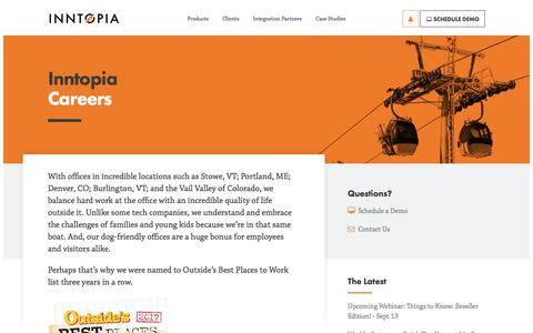 Screenshot of Jobs Page inntopia.com - Inntopia - Careers - captured Sept. 9, 2018