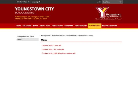 Screenshot of Menu Page ycsd.org - Menu - Youngstown City School District - captured Oct. 19, 2018