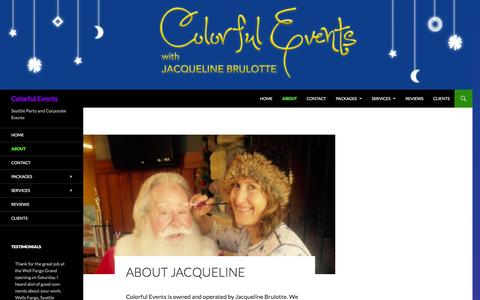Screenshot of About Page colorfulevents.com - Let Colorful Events make your next party extra special - captured Dec. 10, 2015