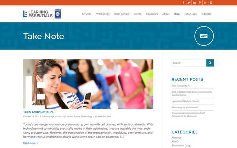 Screenshot of Blog learningessentialsedu.com - Blog for Parents of Special Needs Children | Learning Essentials - captured Oct. 22, 2018