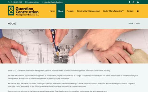 Screenshot of About Page gcmsi.com - About - Guardian Construction - captured Feb. 2, 2016